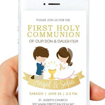 Girl and Boy First Holy Communion Digital Invitation | PK06 | E180