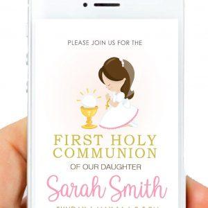 Girl First Holy Communion Digital Invitation   PK06   E518