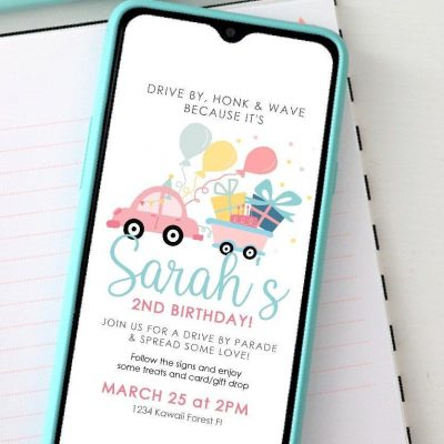Girly Drive By Birthday Digital Invitation | PK33 | E341