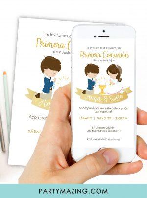 Gold Ribbon Invitación Primera Comunión Niño y Niña E047