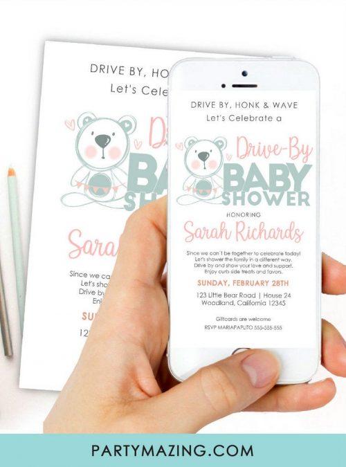 Little Bear Drive By Baby Shower Digital Invitation   Hand-Drawn Phone Text Invitation   E061