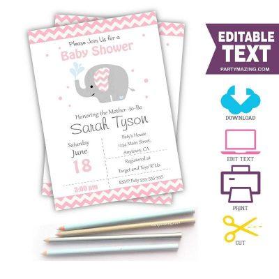 Pink Elephant Invitation for Baby Shower or Birthday Invite | PK15 |E056