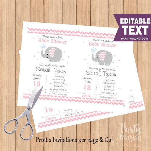 Pink Elephant Invitation for Baby Shower or Birthday Invite   PK15  E056