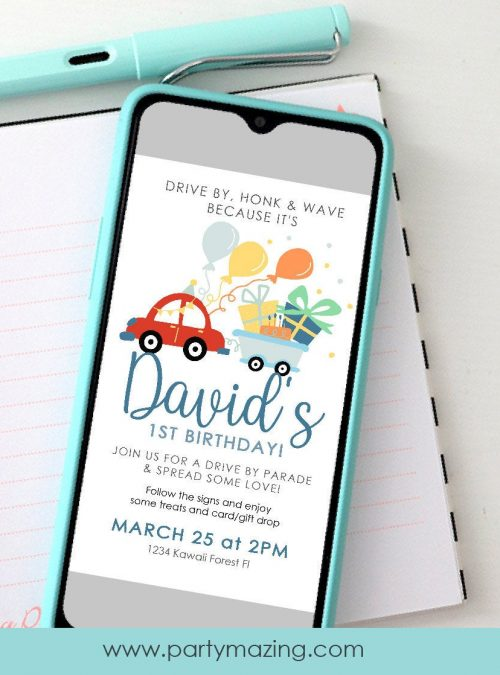 Red Car Drive By Birthday Parade Invitation | Digital Paperless Party Invite | Electronic Invite to text or Email | E258