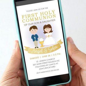 Girl and Boy First Communion Digital Invitation | PK06 | E050