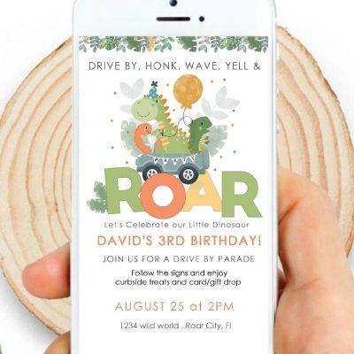 Dino Phone Digital Invitation | Phone Birthday Invitation PK08 | E438