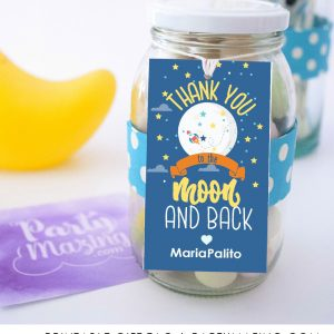 Editable Moon and Back Gift Tag | Printable Outer Space Thank You Gift Tag | PK21 | E481