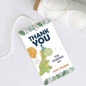 Editable Thank You Dino Favor Tag | Printable Birthday Label Template | PK08 | E564