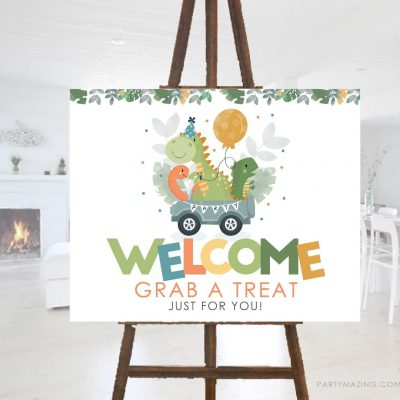 Printable Dino Welcome Sign | Take a Treat Drive By Poster | PK08 |E460
