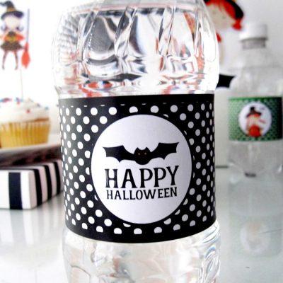 Printable Bat Halloween Water Bottle Label | Happy Halloween Bottle Labels | E565