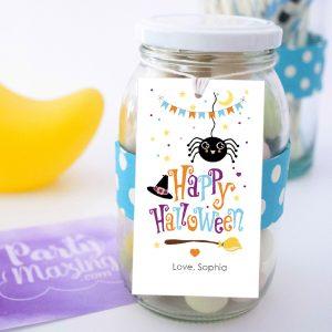 Editable Kids Spider Tag | Printable Happy Halloween Treat Bag Label PK20 |E567