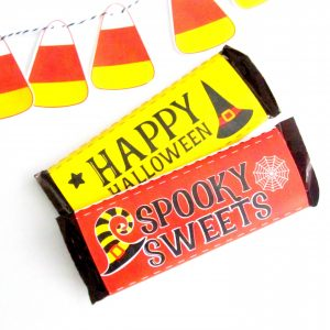 Happy Halloween Chocolate Bar Wrappers | Printable Witch Hat Labels | PK20 | E566