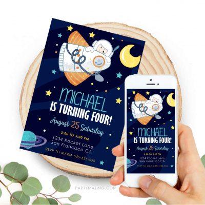 Boy Outer Space Invitation | Digital Spaceship Birthday Invite PK21 | E579
