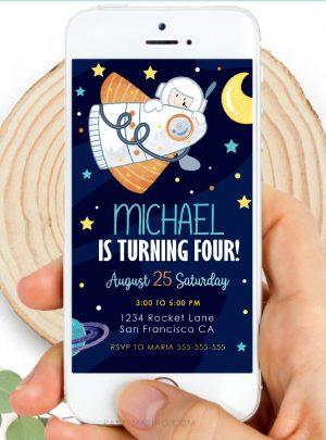 Digital Outer Space Invitation | Spaceship Birthday Invite PK21 | E579-1