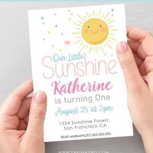 Digital Our Little Sunshine Invitation | Sunny Girl Birthday Email, text or Whatsapp Invitation | Phone Digital Invitation PK24 | E574-1