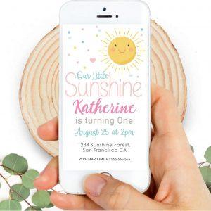 Our Little Sunshine Digital Invitation | Phone Digital Invitation PK24 | E574