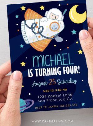 Digital Outer Space Invitation | Spaceship Birthday Invite PK21 | E579