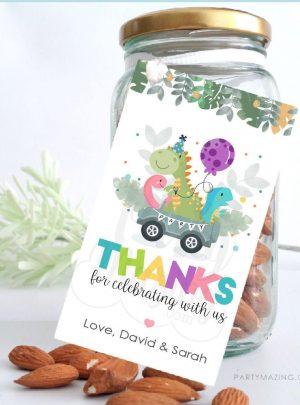 Editable Dino Birthday Thank You Gift Tag | Printable Birthday Label Template | PK08 | E539