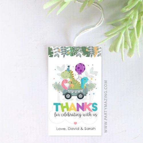 Dino Birthday Thank You Gift Tag   Printable Drive By Editable Tag   Double Birthday Gift Tag   PK08   E539