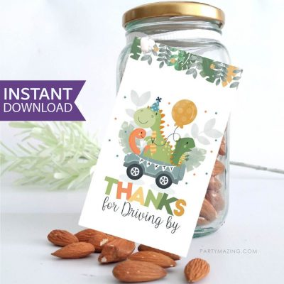 Dino Driving by Gift Tag | Printable Dinosaur Thank You Party Favor Tag PK08 | E452