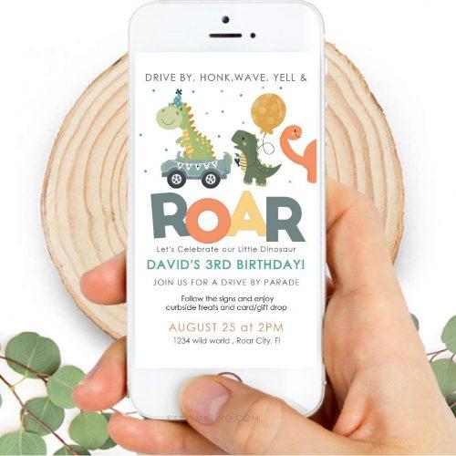Dinosaur Drive By Digital Invitation | Birthday Parade Whatsapp or Phone Message Invite | Personalized Invite | PK08 | E141