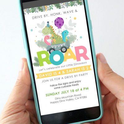 Dino Drive By Phone Digital Invitation | Siblings Birthday Invite | PK08 | E537