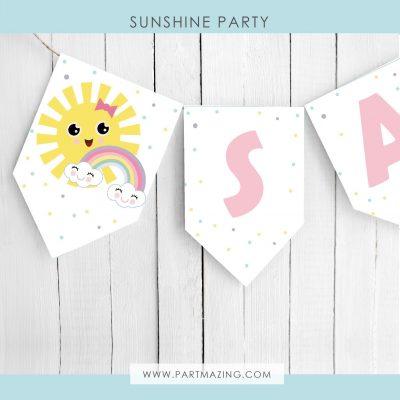 Editable Little Sunshine Flag Banner Garland PK24 | E570