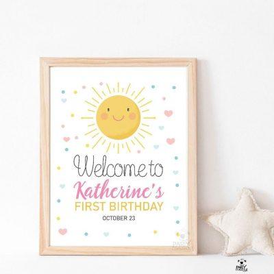 Editable Little Sunshine Welcome sign | Printable Girl Birthday Poster | PK24 |E391