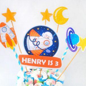 Editable Outer Space Cake Topper   Astronaut Birthday Centerpiece  PK21   E489