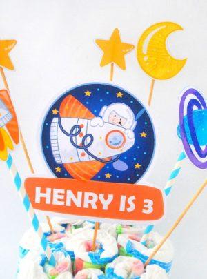 Editable Outer Space Cake Topper | Astronaut Birthday Centerpiece Décor| PK21 | E489