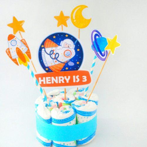 Editable Outer Space Cake Topper | Astronaut Birthday Centerpiece Decor | RocketShip Birthday Decor | PK21 | E489