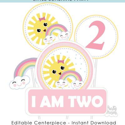 Editable Pink Little Sunshine Cake Topper | Printable Girl Birthday Centerpiece PK24 | E572