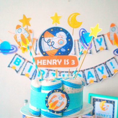 Editable Space Birthday Party Set Package | Printable Rocket Ship Decor | PK21 | E485
