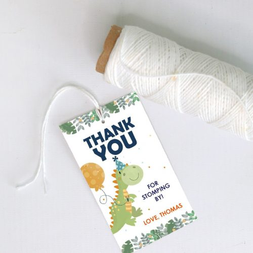 Editable Thank You Dino Favor Tag   Printable Thank you for Stomping By Dinosaur Gift Tag Template   Birthday Label Template   PK08   E564