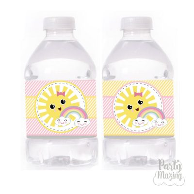 Little Sunshine Girl Birthday Water Bottle Labels | Printable Rainbow and Sun Labels Stickers PK24 | E571