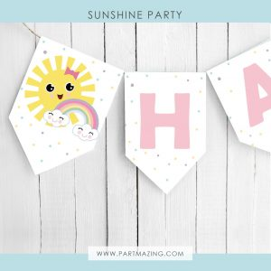Little Sunshine Happy Birthday Flag Banner Garland PK24 | E575