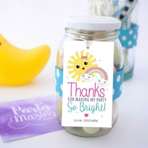 Little Sunshine Thank You Tag | Printable Summer Birthday Gift Tag | PK24 | E541