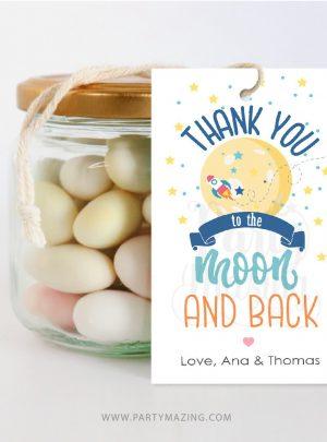 Editable Moon and Back Gift Tag | Printable Thank You Favor Tag | PK21 | E536