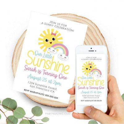Printable Little Sunshine Party Digital Invitation | Printable Little Girl Birthday Invitation | PK24 | E523-1