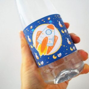 Space Birthday Water Bottle Labels | Printable Outer Space Rocket Labels | PK21 | E493