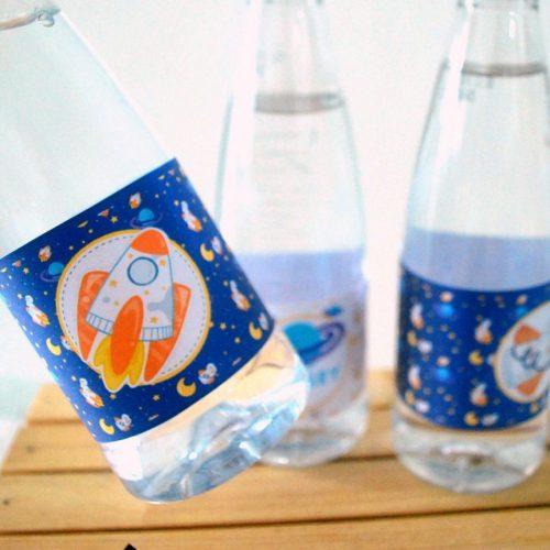 Space Birthday Water Bottle Labels | Printable Outer Space Birthday Rocket Labels | PK21 | E493