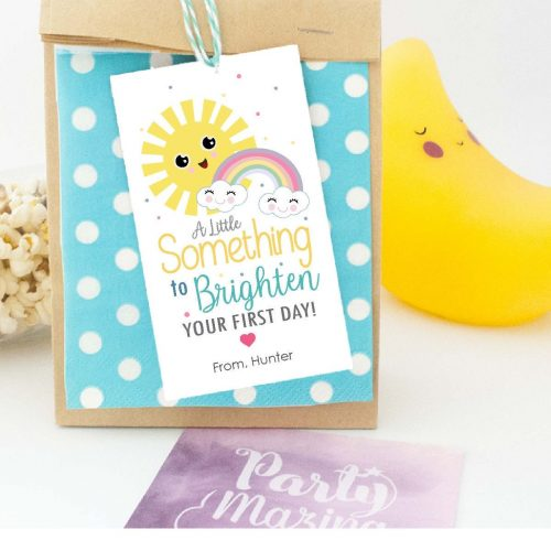 Sunny First Day Tag | Printable Appreciation Label | Back to School Gift Tag Template, Positive Gift, encouragement gift | PK24 | E553
