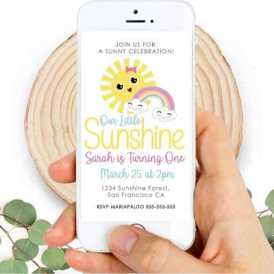 Sunshine Party Digital Invitation | Little Girl Birthday Phone Invite | PK24 |E523
