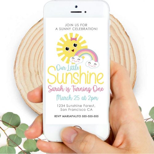 Sunshine Party Digital Invitation | Little Girl Birthday Email, text or Whatsapp Invitation | Personalized Phone Digital Invite | PK24 |E523